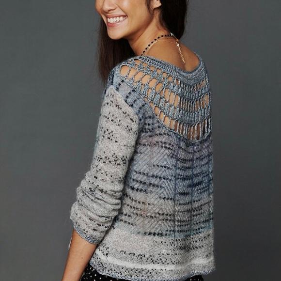 Free people crochet back sweater sz s blue grey